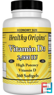Vitamin D3, 2,000 IU, Healthy Origins, 360 Softgels