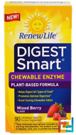 Digest Smart, Chewable Enzyme, Mixed Berry, Renew Life, 90 Chewable Tablets