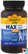 Max for Men, Multivitamin & Mineral Complex, Iron-Free, Country Life, 120 Tablets
