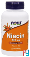 Niacin, 500 mg, Now Foods, 100 Capsules