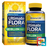 Extra Care, Ultimate Flora Probiotic, Renew Life, 100 Billion Live Cultures, 30 Vegetable Capsules