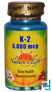 K-2, Bone Health Menatetrenone, 5,000 mcg, Nature's Life, 60 Tablets