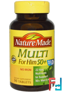 Multi For Him 50+, No Iron, Nature Made, 90 Tablets