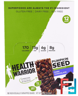 Pumpkin Seed Superfood Bar, Dark Chocolate, Health Warrior, Inc., 12 Bars, 1.23 oz (35 g) Each