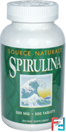 Spirulina, Source Naturals, 500 mg, 500 Tablets