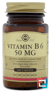 Vitamin B6, Solgar, 50 mg, 100 Tablets