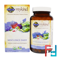 Men's Once Daily, Whole Food Multivitamin, Garden of Life, MyKind Organics,  60 Vegan Tablets