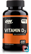 Vitamin D, Optimum Nutrition, 5000 mg, 200 softgels