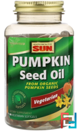 Pumpkin Seed Oil, Health From The Sun, 90 Vegetarian Softgels