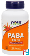 PABA, 500 mg, Now Foods, 100 Capsules