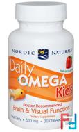Daily Omega Kids, Natural Fruit Flavor, Nordic Naturals, 500 mg, 30 Chewable Soft Gels