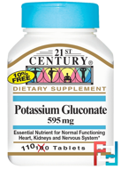 Potassium Gluconate, 21st Century, 595 mg, 110 Tablets