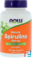 Natural Spirulina, Now Foods, 500 mg, 120 Veg Capsules