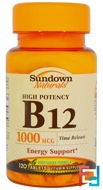 B-12, High Potency, Time Release, 1000 mcg, Sundown Naturals, 120 Tablets