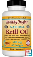 Krill Oil, Natural Vanilla Flavor, Healthy Origins, 500 mg, 60 Softgels