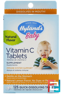 Baby, Vitamin C Tablets, Natural Lemon Flavored, Hyland's, 125 Tablets