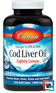 Cod Liver Oil Gems, Lightly Lemon, Carlson Labs, 1000 mg, 150 Soft Gels