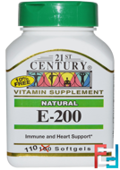 E-200, Natural, 21st Century, 110 Softgels