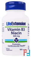 Vitamin B3 Niacin, 500 mg, Life Extension, 100 Capsules