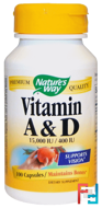 Vitamin A and D, 15,000 IU / 400 IU, Nature's Way, 100 Capsules