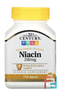 Niacin, 250 mg, 21st Century, 110 Tablets