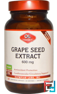Grape Seed Extract, Maximum Strength, Olympian Labs Inc., 600 mg, 60 Vegetarian Capsules