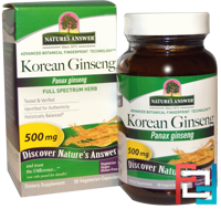 Korean Ginseng, Nature's Answer, 500 mg, 50 Vegetarian Capsules