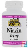 Niacin, 100 mg, Natural Factors, 90 Tablets