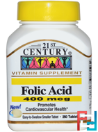 Folic Acid, 21st Century, 400 mcg, 250 Tablets
