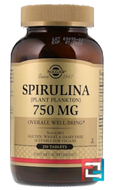 Spirulina, Solgar, 750 mg, 250 Tablets