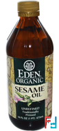 Organic Sesame Oil, Unrefined, Eden Foods, 16 fl oz (473 ml)