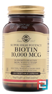 Biotin, Super High Potency, Solgar, 10.000 mcg, 120 Vegetable Capsules