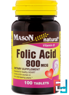 Folic Acid, Mason Natural, 800 mcg, 100 Tablets