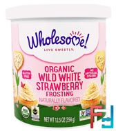 Organic Wild White Strawberry Frosting, Wholesome Sweeteners, Inc., 12.5 oz (354 g)