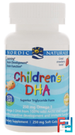 Children's DHA, Strawberry, 250 mg, Nordic Naturals, 90 Chewable Soft Gels