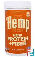 Hemp Protein + Fiber, Just Hemp Foods, 16 oz, 454 g