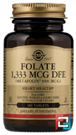 Folate As Metafolin, Solgar, 800 mcg, 100 Tablets