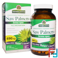 Saw Palmetto, Full Spectrum Herb, 690 mg, Nature's Answer, 120 Vegetarian Capsules