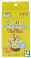 Party, Colors From Nature, Yellow Frosting Color & Rainbow Sprinkles, ColorKitchen, 1.33 oz (37.74 g)