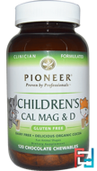 Children's Cal Mag & D, Chocolate Flavor, Pioneer Nutritional Formulas, 120 Chewables