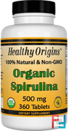 Organic Spirulina, Healthy Origins, 500 mg, 360 Tablets