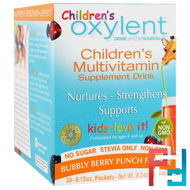 Children's Oxylent,Multivitamin Supplement Drink, Bubbly Berry Punch, Vitalah, 30 Stick Packets, 4.5 g