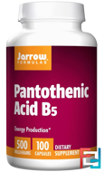 Pantothenic Acid B5, Jarrow Formulas, 500 mg, 100 Capsules