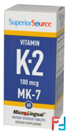 Vitamin K-2, Superior Source, 100 mcg, 60 Microlingual Instant Dissolve Tablets