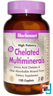 High Potency, Chelated Multiminerals, Bluebonnet Nutrition, 120 Caplets