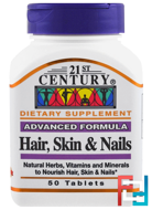 Hair, Skin & Nails, Advanced Formula, 21st Century, 50 Tablets
