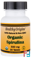 Organic Spirulina, Healthy Origins, 500 mg, 30 Tablets