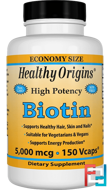 Biotin, High Potency, 5,000 mcg, Healthy Origins, 150 Vcaps