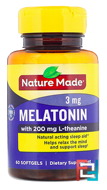 Melatonin + L-Theanine, Nature Made, 200 mg, 60 Softgels