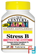 Stress B, with Zinc, 21st Century, 66 Tablets